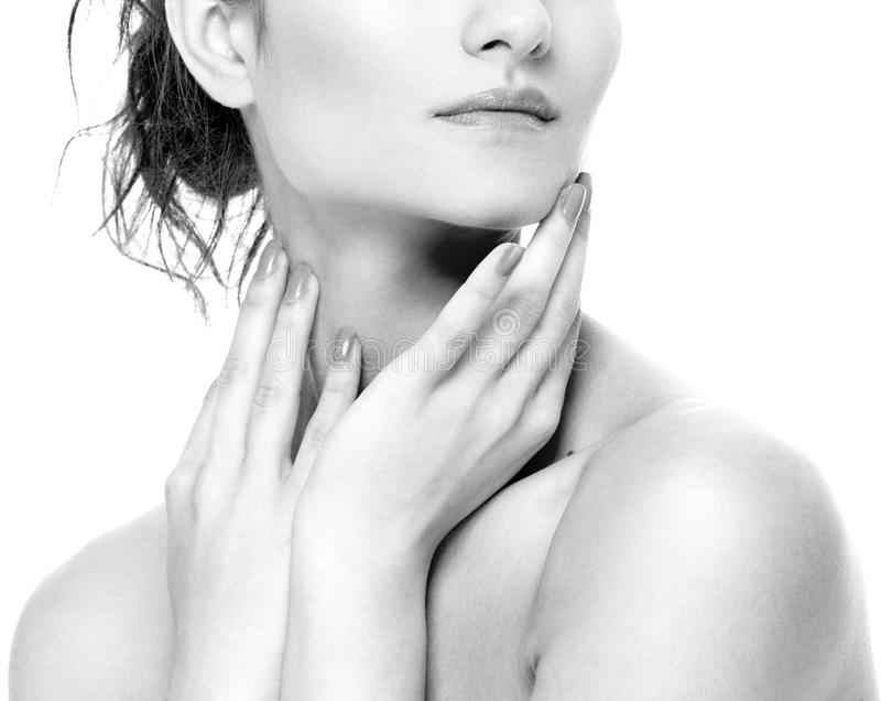 Os bordos do ombro do pescoço da mulher cheiram os mordentes do queixo preto e branco imagens de stock royalty free