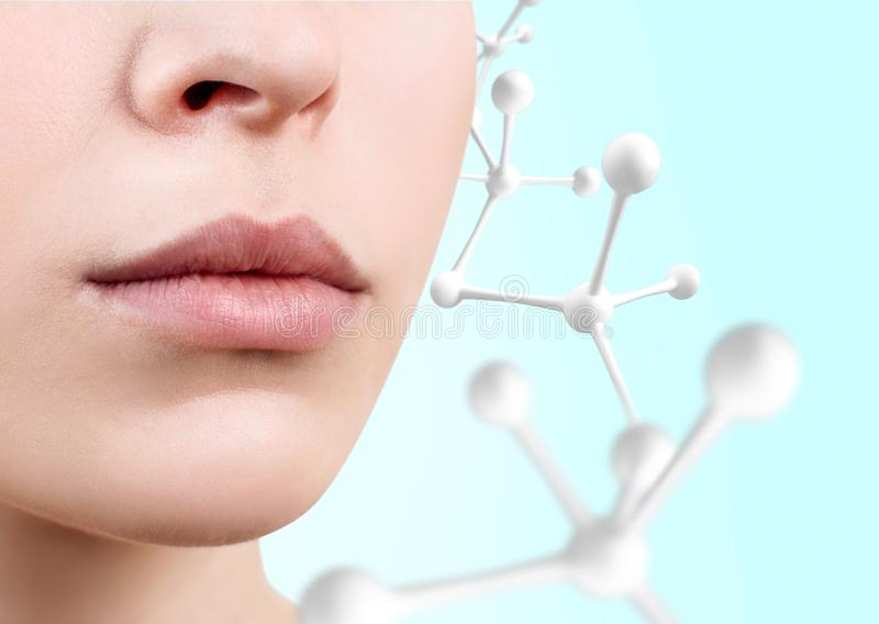 Os bordos fêmeas perfeitos aproximam a corrente branca da molécula imagem de stock royalty free