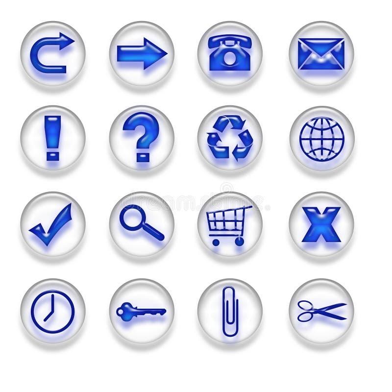 Os botões azuis dos ícones da Web ajustaram a parte 1 ilustração stock