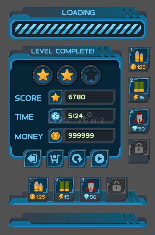Os botões da relação ajustaram-se para jogos ou apps do espaço ilustração royalty free