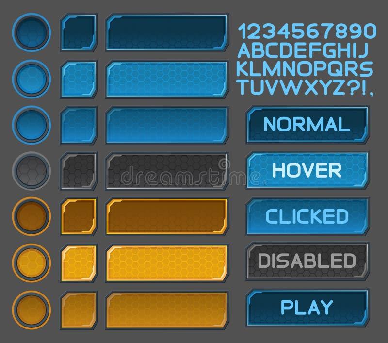 Os botões da relação ajustaram-se para jogos ou apps do espaço ilustração do vetor