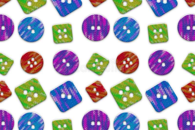 Os botões diferentes do tamanho da textura sem emenda do círculo e da forma quadrada multi-coloriram o teste padrão feito malh imagens de stock royalty free