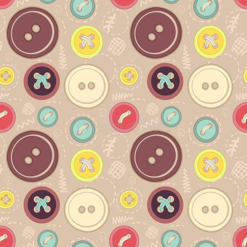 Os botões do vintage sew o teste padrão sem emenda ilustração royalty free