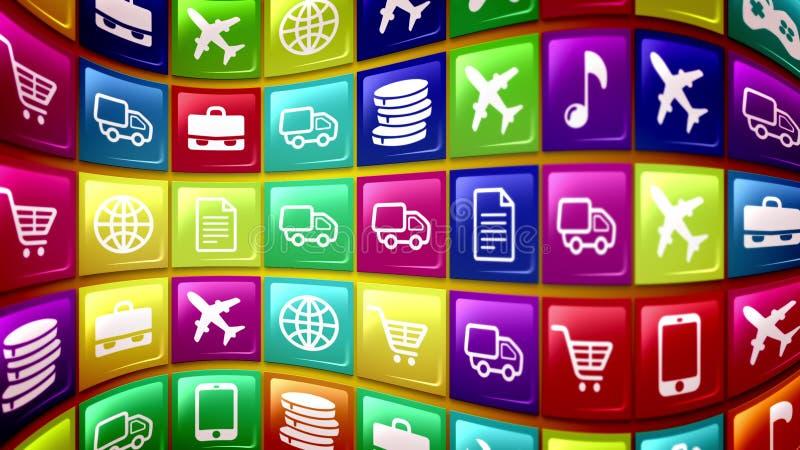 Os botões móveis da aplicação deram forma a côncavo ilustração royalty free