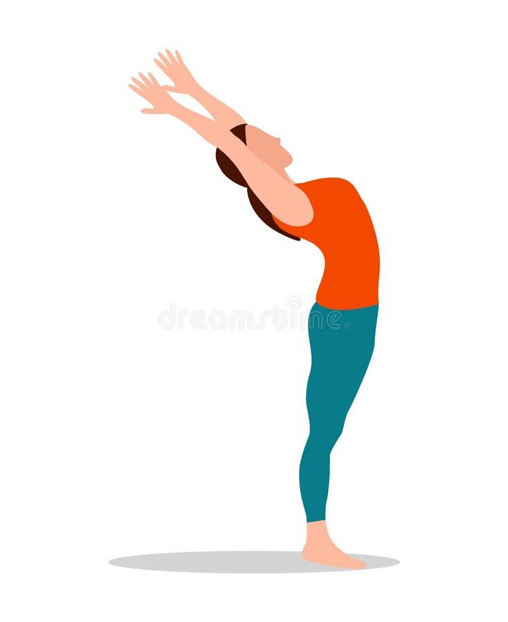 Os braços da montanha levantam acima a ilustração do vetor da ioga ilustração royalty free