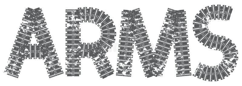 Os braços text com as letras feitas de trilhas do tanque ilustração stock