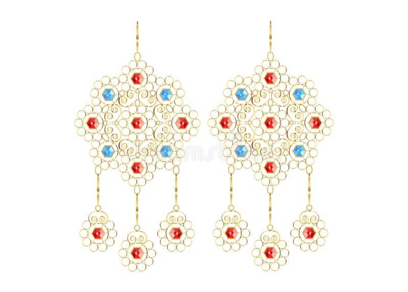 Os brincos filigranas dourados, os ícones da joia para a loja e a forma armazenam, fundo isolams ou brancos ilustração royalty free