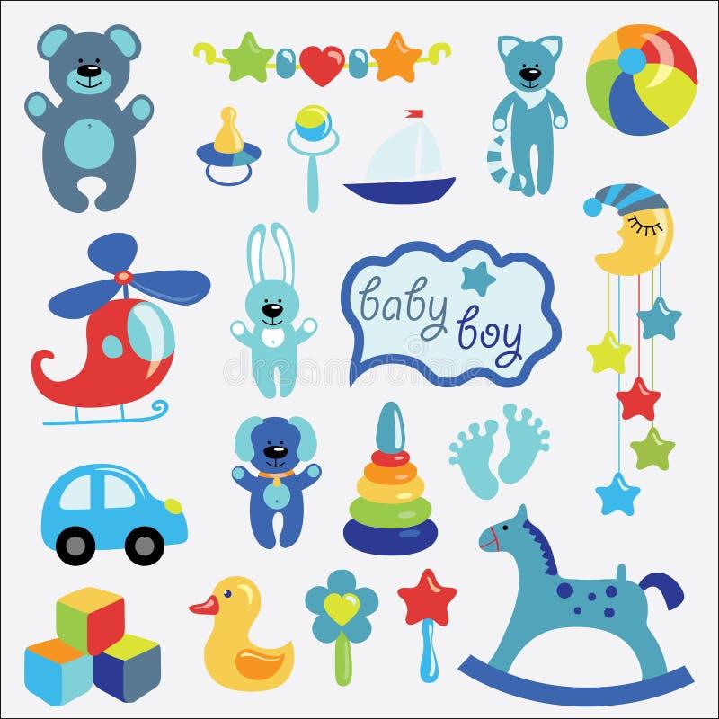 Os brinquedos do bebê ajustaram a coleção para o rapaz pequeno ilustração royalty free