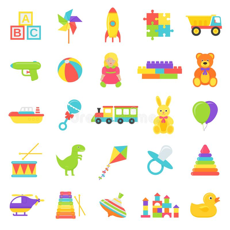Os brinquedos do beb? ajustaram-se Ilustra??o do vetor no projeto liso ilustração do vetor