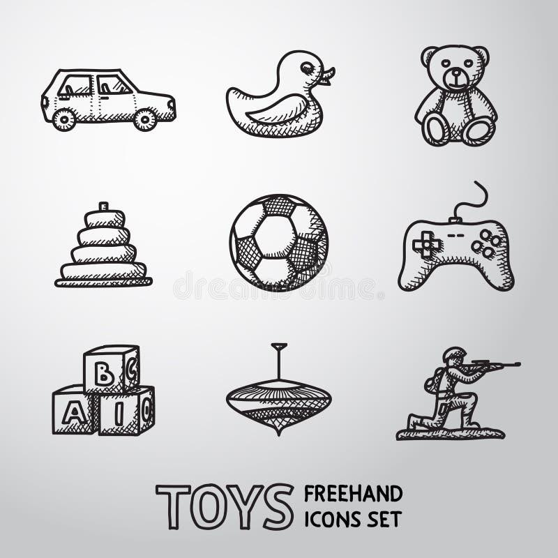 Os brinquedos entregam os ícones tirados ajustados com - o carro, duck, carrega ilustração stock