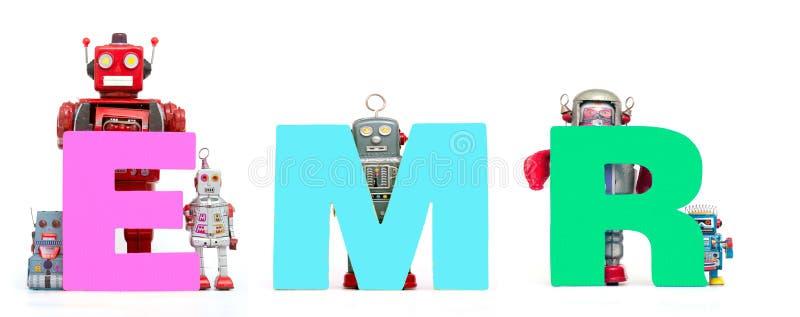 Os brinquedos retros do robô da lata sustentam o acrônimo EMR foto de stock royalty free