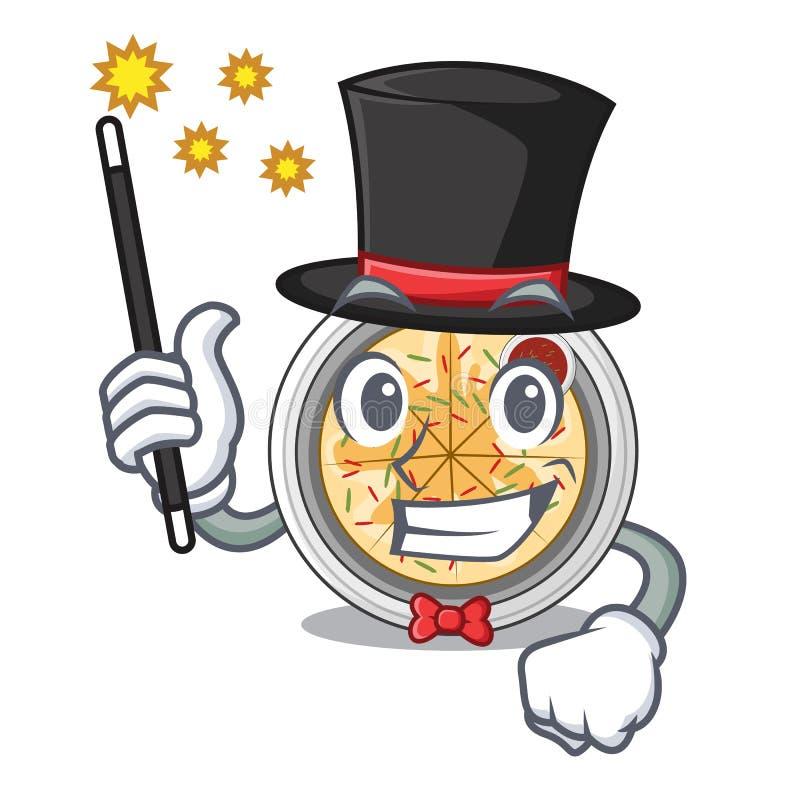 Os buchimgae do mágico são fritados na bandeja do caráter ilustração stock