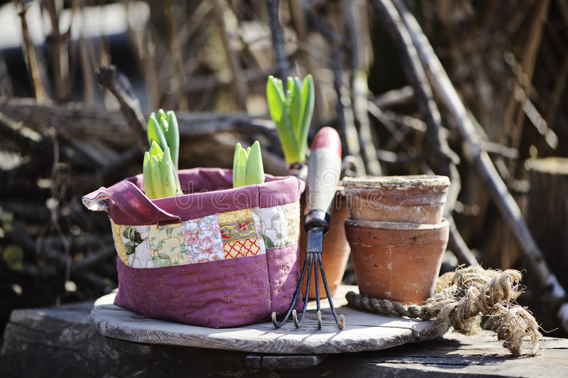 Os bulbos de flores da mola em retalhos feitos a mão ensacam com ferramenta de jardim e os potenciômetros cerâmicos fotos de stock royalty free