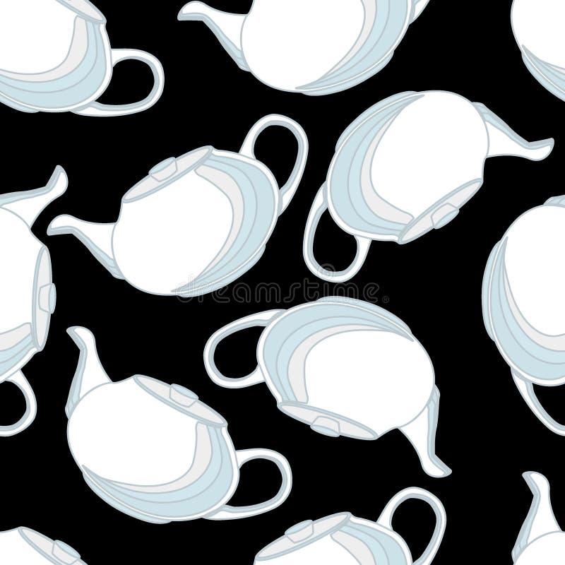 Os bules, isolados, vector o teste padrão sem emenda, cores delicadas, porcelana ilustração royalty free