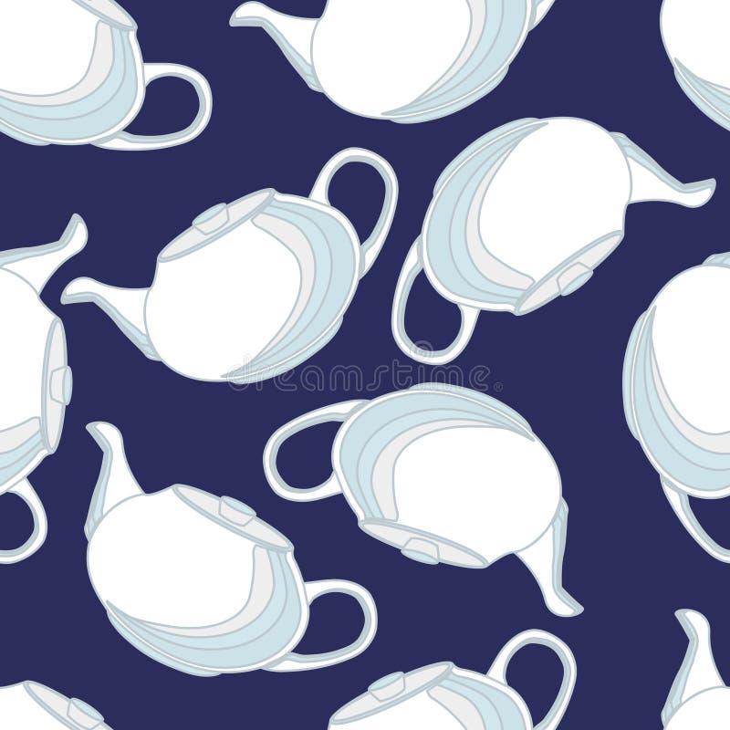 Os bules, isolados, vector o teste padrão sem emenda, porcelana, linear ilustração stock