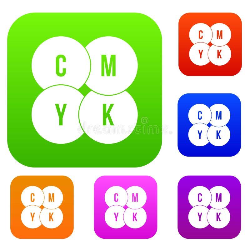 Os círculos de CMYK ajustaram a coleção ilustração royalty free