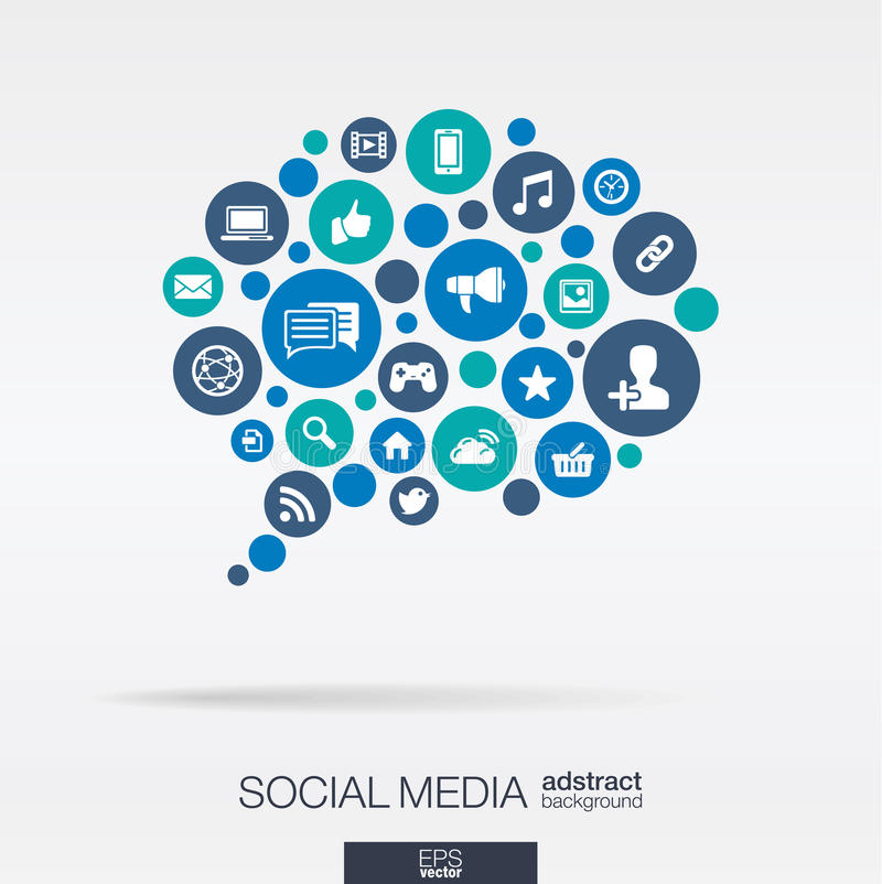 Os círculos de cor, ícones lisos em uma bolha do discurso dão forma: tecnologia, meio social, rede, conceito do computador abstra ilustração do vetor