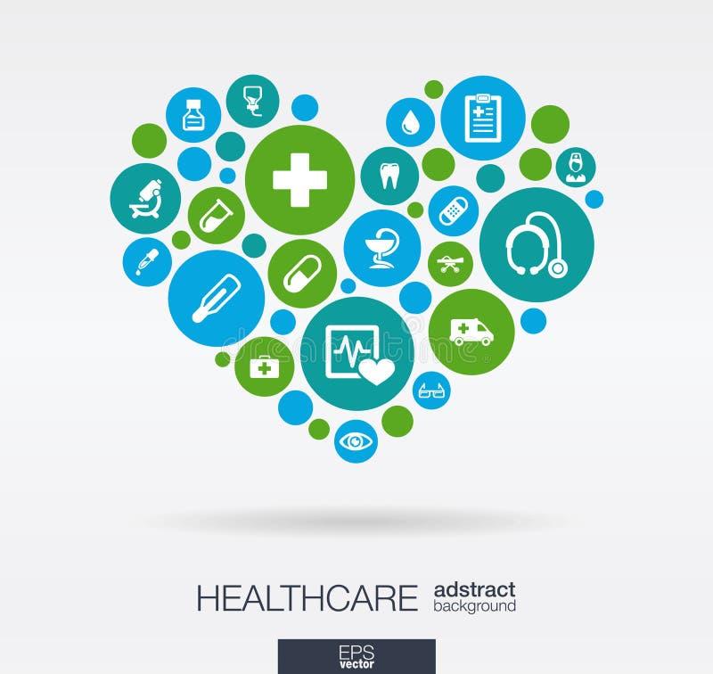 Os círculos de cor com ícones lisos em um coração dão forma: medicina, médica, saúde, cruz, conceitos dos cuidados médicos abstra ilustração royalty free