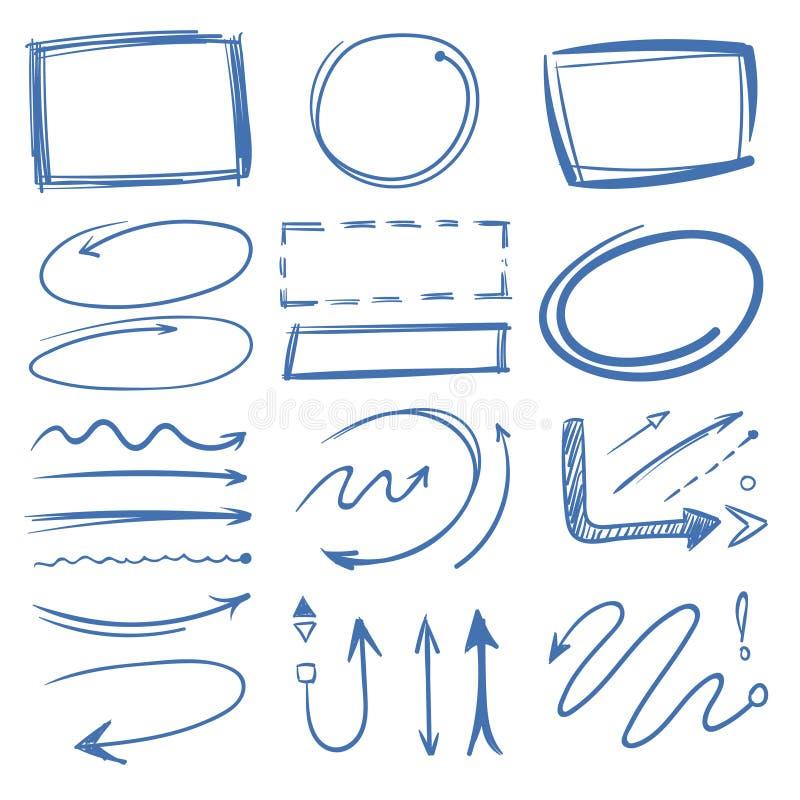 Os círculos de marcador, apontando setas, quadros rabiscam a coleção ilustração stock
