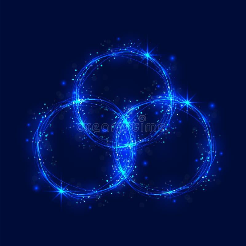 Os círculos e o redemoinho ardentes abstratos do brilho arrastam o efeito ilustração stock