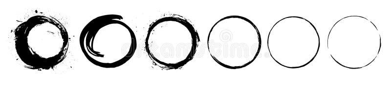 Os círculos pretos abstratos da pincelada da pintura embalam Grupo de símbolo do estilo da escova da tinta do zen de Enso ilustração do vetor