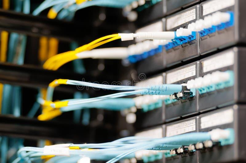 Os cabos óticos conectaram ao painel no quarto do server. imagem de stock