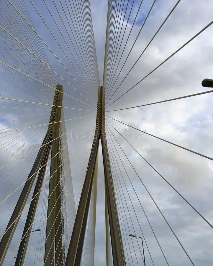 Os cabos em um projeto alterado do fã em um cabo ficam a ponte imagens de stock royalty free