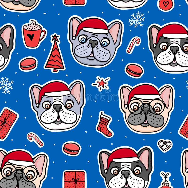 Os cachorrinhos do buldogue francês entregam caráteres tirados Cães sem emenda do teste padrão em chapéus vermelhos do Natal Feri ilustração do vetor