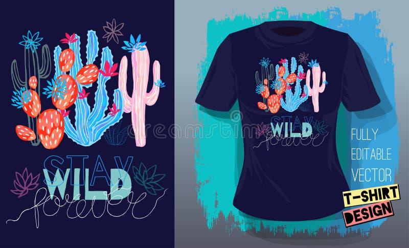 Os cactos coloridos das plantas carnudas dos cactos imprimem a camisa de t Tipografia de rotulação selvagem da estada do slogan ilustração royalty free