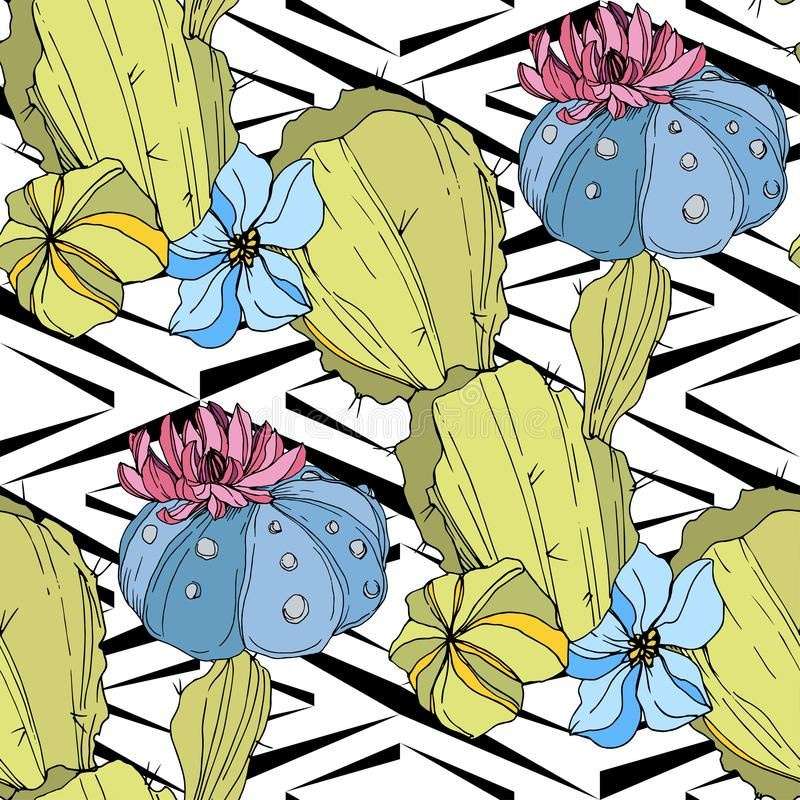 Os cactos do vetor florescem Arte gravada verde e azul da tinta Teste padrão sem emenda do fundo Textura da cópia do papel de par ilustração stock