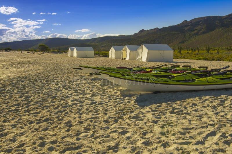 Os caiaque descansam na praia com barracas de acampamento e fundo do deserto imagens de stock