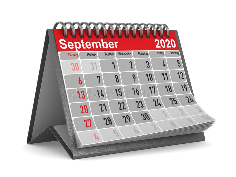 2020 a?os Calendario para septiembre Ejemplo aislado 3d libre illustration