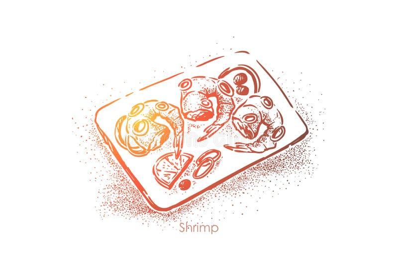 Os camarões chapeiam a vista superior, a refeição deliciosa, camarões crus com a parte do limão e anéis de cebola, jantar gourmet ilustração do vetor