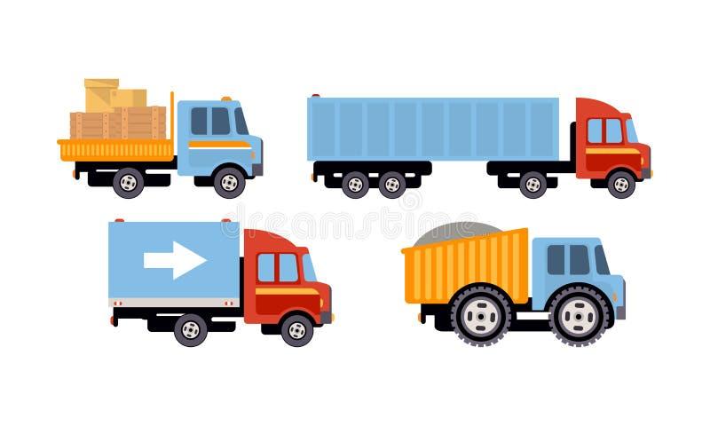 Os caminhões ajustaram-se, os veículos de entrega, ilustração do vetor da vista lateral em um fundo branco ilustração do vetor