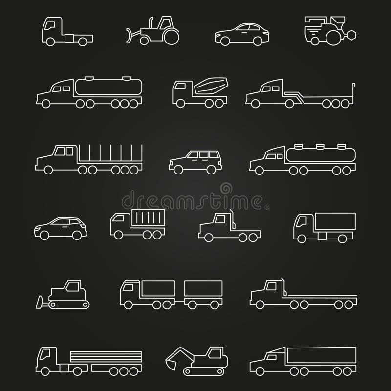 Os caminhões, carros, fazem à máquina a linha ícones de grupo ilustração do vetor