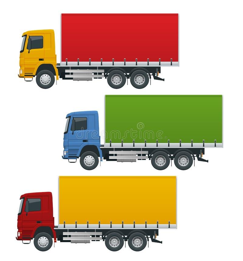Os caminhões lisos ajustaram veículos realísticos isolados no fundo branco Transporte a logística, opinião lateral da entrega ilustração do vetor