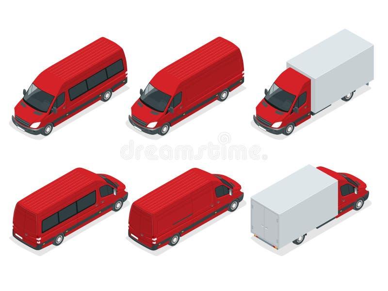 Os caminhões Vector o transporte isométrico Veículo comercial Caminhão de entrega Serviço de entrega liso da ilustração do vetor  ilustração royalty free