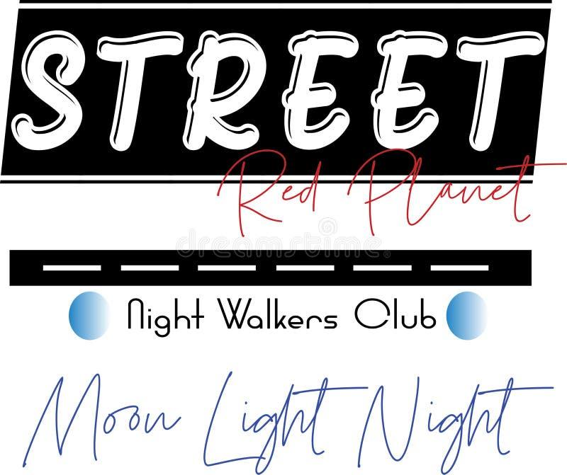 Os caminhantes da noite de PrintStreet batem o projeto do texto ilustração royalty free