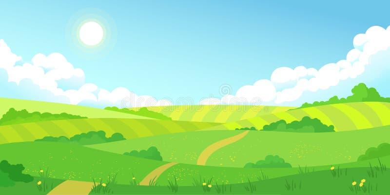 Os campos brilhantes do verão colorido ajardinam, grama verde, céu azul claro ilustração royalty free