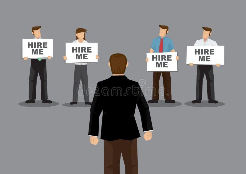 Os candidatos a emprego que guardam o cartaz dizem contratam-me à ilustração do vetor dos desenhos animados do empregador ilustração stock