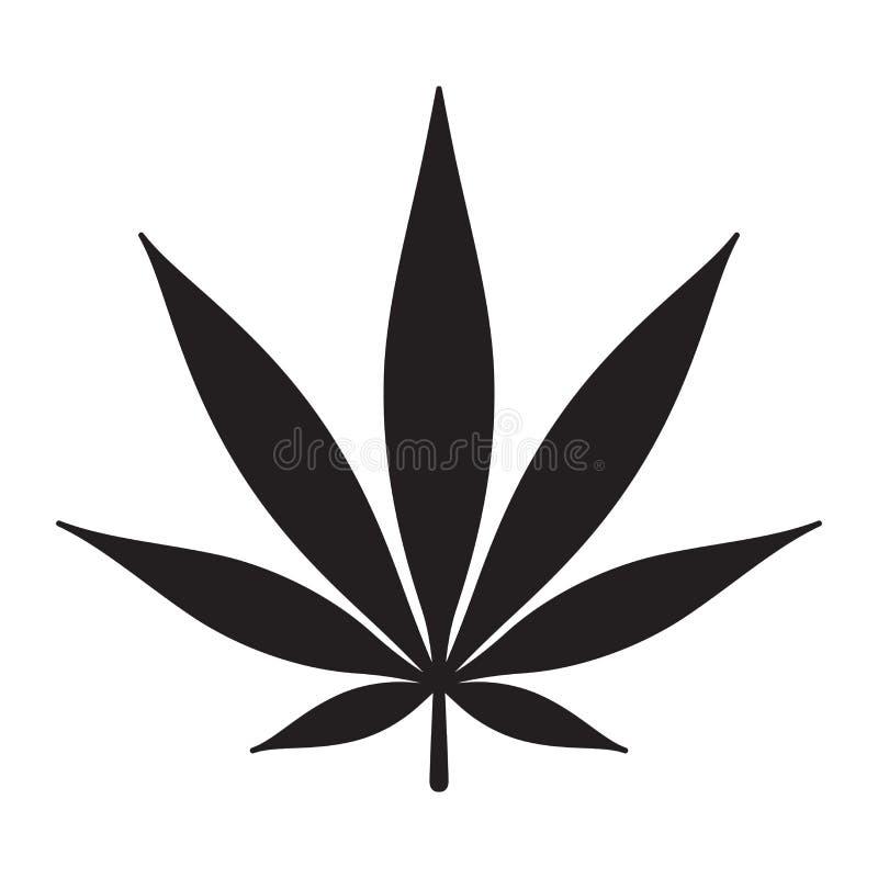 Os cannabis do ícone da marijuana removem ervas daninhas do gráfico da ilustração do clipart do logotipo da folha ilustração do vetor