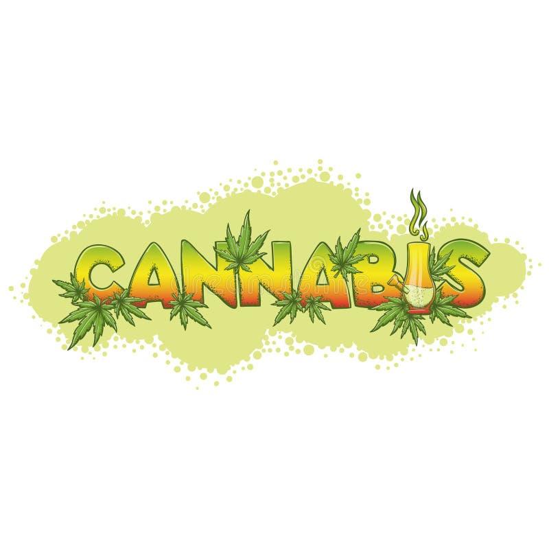 Os cannabis e Bong o fundo ilustração do vetor