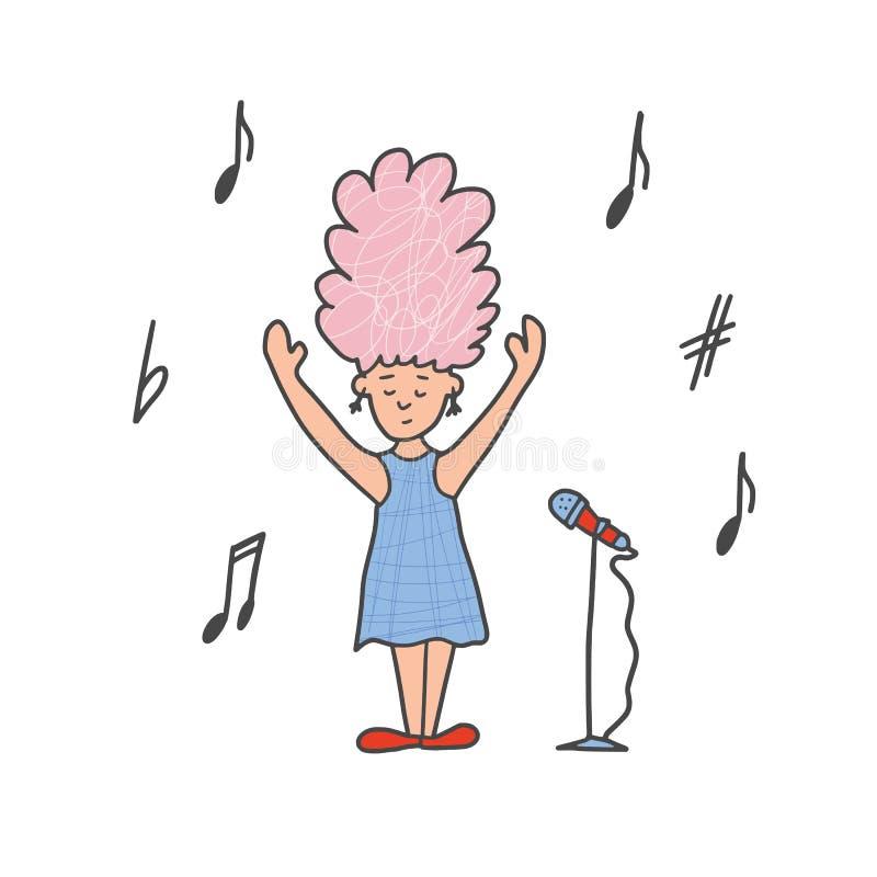 Os cantores bonitos ficam isolados Projeto simples do vetor ilustração stock