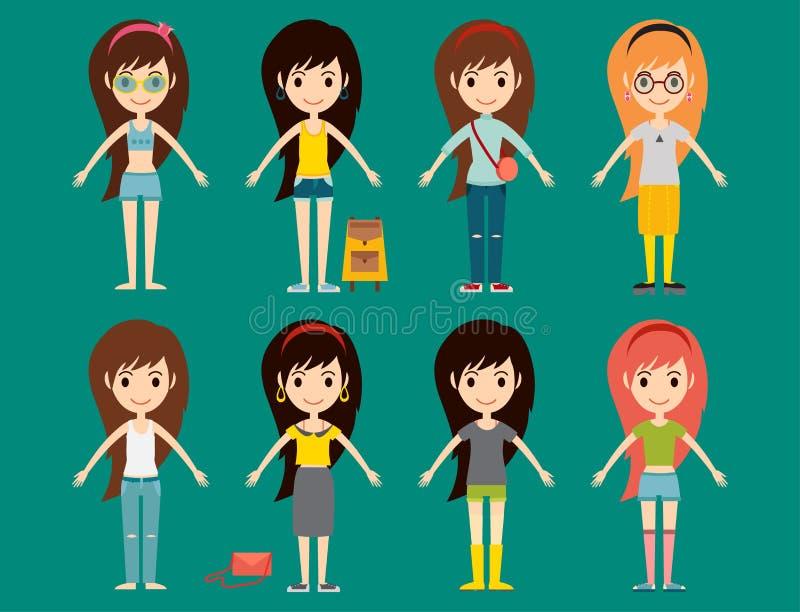 Os caráteres à moda elegantes da mulher do estilo do desgaste dos modelos das meninas da forma da rua vestem a ilustração do veto ilustração do vetor
