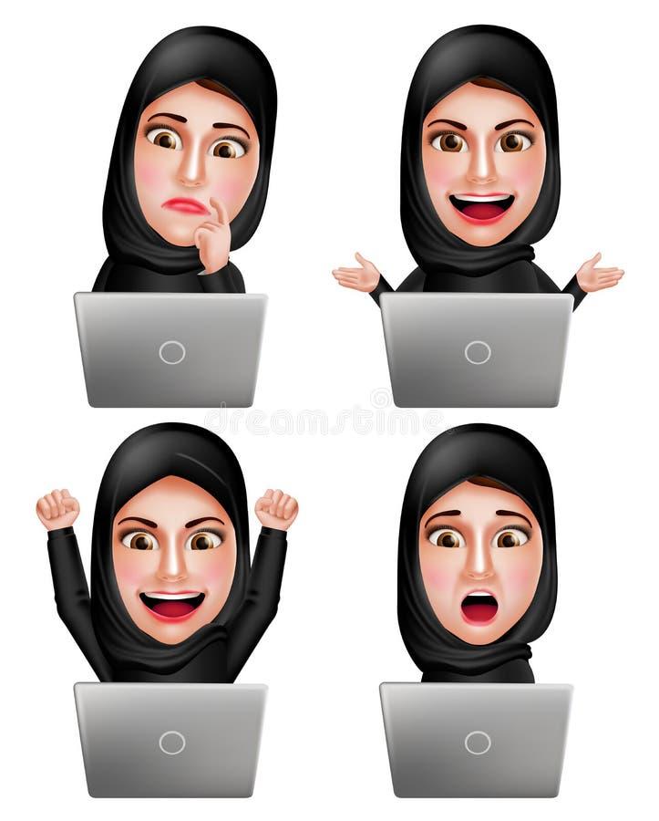 Os caráteres árabes muçulmanos do vetor da mulher ajustaram o trabalho com hijab vestindo do portátil ilustração do vetor