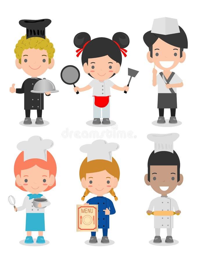 Os caráteres ajustaram-se dos cozinheiros das crianças, cozinheiro chefe bonito das crianças no fundo branco, grupo de crianças q ilustração stock