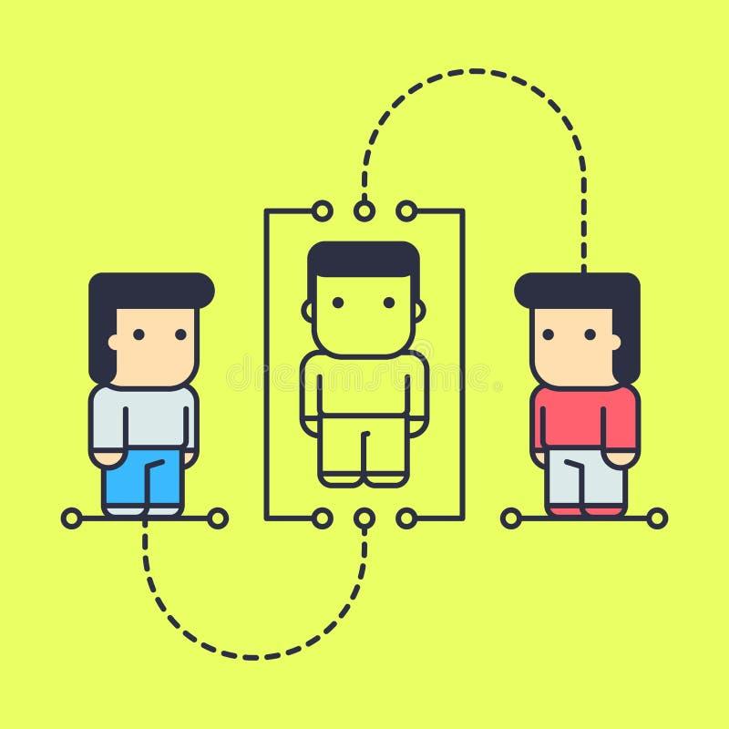 Os caráteres aprendem os princípios da filosofia do conhecimento humano ilustração royalty free