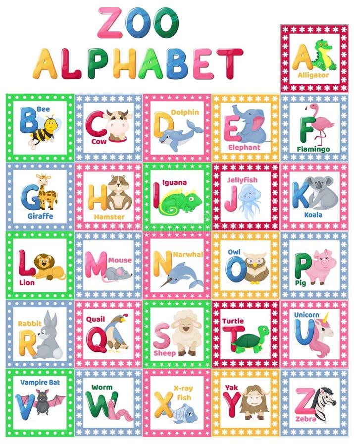 Os caráteres bonitos dos desenhos animados das letras do animal do alfabeto do jardim zoológico isolaram a ilustração inglesa edu ilustração stock
