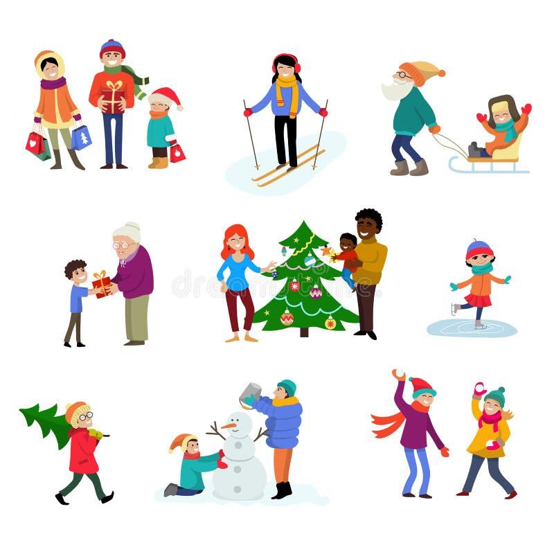 Os caráteres da família dos desenhos animados do vetor do feriado de inverno caçoam o jogo no inverno com árvore e presentes do x ilustração stock