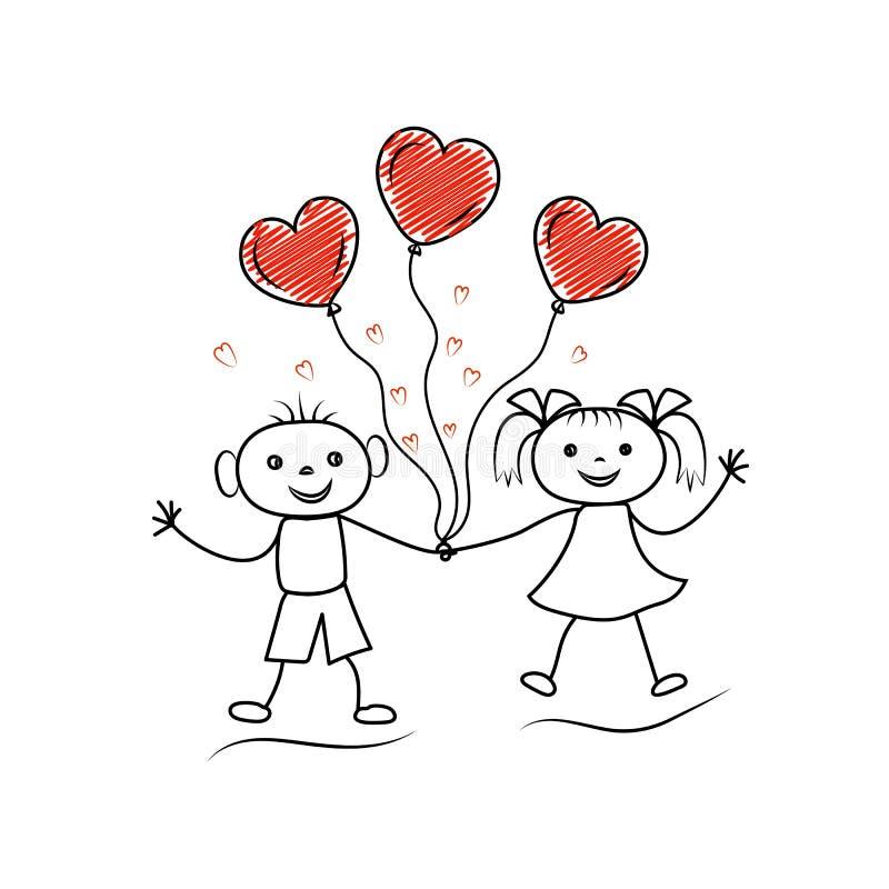 Os caráteres de Stickman que guardam as mãos com coração da garatuja deram forma a ballons Pares no amor ilustração do vetor